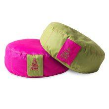 Pink + zöld kifordítható huzat kerek ülőpárnához