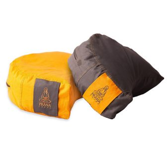Narancs + barna kifordítható huzat félhold ülőpárnához