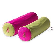 Pink + zöld kifordítható huzat jóga hengerhez