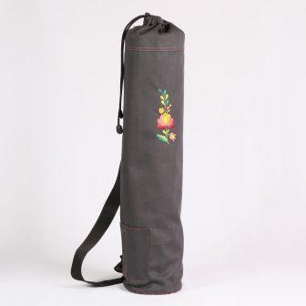 Szürke jóga matrac tartó Matyó hímzéssel 75x15 cm